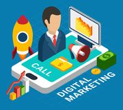 Digital Marketing Concept. Isometric colorful digital mobile marketing concept on blue background 3d vector illustration Royalty Free Stock Images