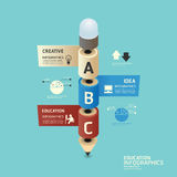 Isometric colorful pencil infographic Stock Photos