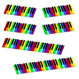 Isometric colorful piano keyboard set. Isometric rainbow-coloredl piano keyboard set Stock Photo
