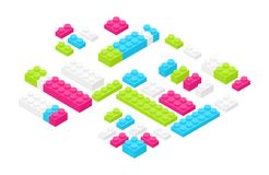 Isometric colorful plastic construction details, parts or pieces isolated on white background. Bright interlocking toy. Bricks or building blocks. Constructing vector illustration