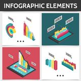 Isometric Colorful Square Infographic Concept. With 3d business diagrams bars charts and graphs isolated vector illustration vector illustration