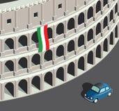 Isometric Colosseum και εκλεκτής ποιότητας ιταλικό αυτοκίνητο Στοκ Εικόνα