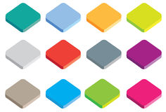 Isometric coloured icon buttons. Different coloured buttons or icons in isometric projection isolated on a white background Vector Illustration