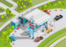Isometric Composition Of Gas Station Stock Images