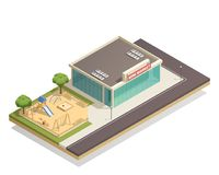 Kids Playground Near Shop Isometric Composition Royalty Free Stock Photography