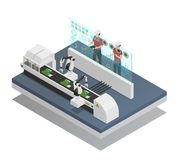 Augmented Reality Isometric Composition. Isometric composition with two men in augmented reality glasses looking at robots near assembly line 3d vector Stock Images