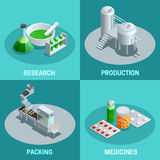 Isometric 2x2 Compositions Pharmaceutical Production. Isometric 2x2 compositions of pharmaceutical production steps like research production packing and end Stock Images