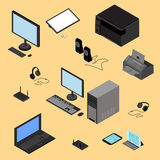 Isometric computer technology concept. Isometric computer technology concept includes Tablet, laptop, processor, printer, peripheral devices, router, headphones Royalty Free Stock Photography