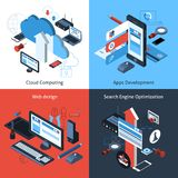 Isometric Computing Set Royalty Free Stock Image