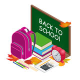 Isometric concept Back to school background, vector illustration. Books and blackboard. Royalty Free Stock Photos