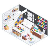 Isometric concept of the bookstore interior. 3d library with books. Isometric concept of the bookstore interior. 3d library with books, bookshelves, stands and Royalty Free Stock Photography