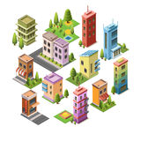 Isometric concept buildings Stock Images