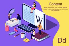 Isometric concept creative writing or blogging. Isometric concept creative writing or blogging, education and content management for web page, banner, social vector illustration