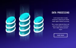 Isometric concept database. 3d concept of data processing. Abstract power station, the technology of the future. Horizontal banner. Vector illustration Royalty Free Stock Photo
