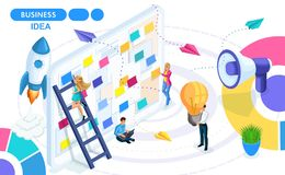 Isometric Concept of developing, creating and implementing a business idea, a startup. Isometric people on the move. Concepts for web banners and printed vector illustration