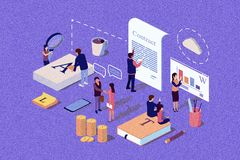 Isometric Concept The investor holds money in ideas. Illustration for web page, social media, documents, the opening of a new startup, financing of creative stock illustration