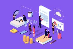 Isometric Concept The investor holds money in ideas. Vector illustration for web page, social media, documents, the opening of a new startup, financing of royalty free illustration