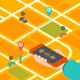 Isometric concept of mobile app for booking taxi Royalty Free Stock Images