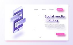 Isometric concept with mobile phone and chat. stock illustration