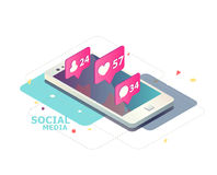 Isometric concept with mobile phone and push notification with likes, new comments, messages and followers. Stock Photo