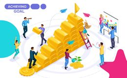 Isometric Concept of movement towards a goal, the development of business, to win a prize. Isometric people in motion. Concepts for web banners and printed stock illustration