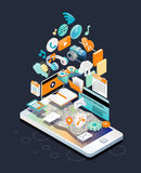 Isometric concept of smartphone with different applications, on-line services and stationary options. Vector illustration Stock Images
