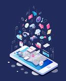 Isometric concept of smartphone with different applications, on-line services and stationary options. Vector illustration Royalty Free Stock Images