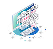Isometric concept of spam. Junk. Unsolicited promotional email.  Workplace with computer and mails. Vector illustration Royalty Free Stock Image