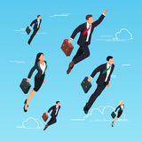 Isometric concept of start-up. 3d businessmen flying in the sky. As a superhero. Men and women in suits and briefcases are flying up. Vector illustration Stock Photos