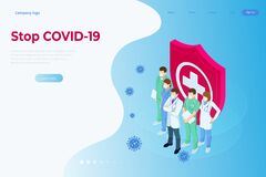 Isometric concept of Thank you doctors and nurses working in the hospitals and fighting the coronavirus. Stop COVID-19