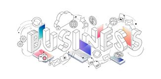 Isometric concept with thin line letters, typography word busine. Ss with line and colorful icons on white background. For internet banner, websites, flyers Royalty Free Stock Images