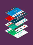 Isometric concept of web site design templates Royalty Free Stock Image