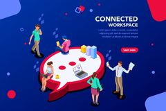 Connected People Isometric Vector royalty free illustration
