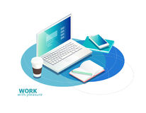 Isometric concept of workplace with laptop and office equipment. Royalty Free Stock Image