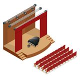 Isometric concert stage and black grand piano at spot light. Podium concert stage. Performance show entertainment, scene Stock Photography