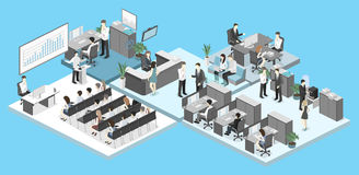 Isometric conference hall, offices, workplaces, director of the office interior. Isometric flat 3d abstract office floor interior departments concept Stock Images