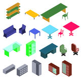 Isometric conference room with laptop, table, armchairs. In vector Royalty Free Stock Image