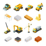 Isometric Construction Icons Set. Colorful isometric construction icons set with various materials and transport isolated on white background vector illustration Royalty Free Stock Photos