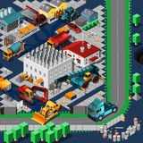 Isometric Construction Machines Concept Royalty Free Stock Images
