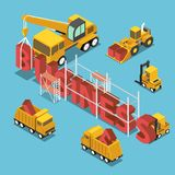 Isometric construction site vehicles buildding business word. Stock Photography