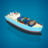 Isometric container ship on the water. A top view of a cargo ship with containers on board in the ocean, vector illustration Royalty Free Stock Images