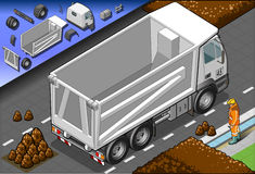 Isometric Container Truck in Rear View Royalty Free Stock Image