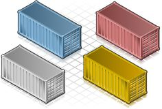 Isometric container in various colors. Isometric containers in various colors, yellow, red, blue, and gray Royalty Free Stock Photo
