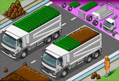 Isometric containers trucks in front view Stock Photo