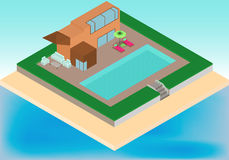 Isometric cottage with pool, armchairs, umbrella on the tropical beach Royalty Free Stock Photography