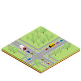 Isometric country crossroads Royalty Free Stock Photography