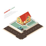 Isometric country house. And car with lawn. Vector illustration Stock Images