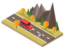 Isometric countryside. Fall road. Car goes through rocks and trees. Flat 3d vector isometric illustration. Concept picture Royalty Free Stock Photo