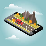 Isometric countryside. Fall road. Mobile geo tracking. Map. Car goes through rocks and trees. Flat 3d vector isometric illustration. Concept picture Stock Photos