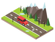 Isometric countryside. Spring road. Car goes through rocks and trees. Flat 3d vector isometric illustration. Concept picture Stock Photos